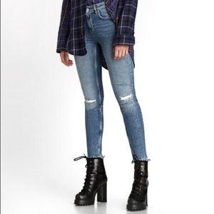 Zara Premium Shredded Hem Distressed Skinny Jeans